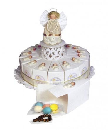 Torta 15 porciones ángel cerámica, denario recuerdo de Bautizo