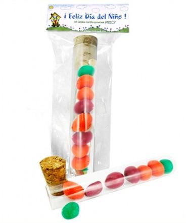 Dulces en tubo de ensayo regalo día del Niño