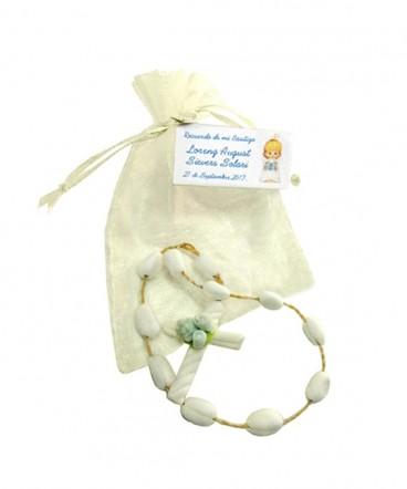 Denario de cerámica en bolsa organza recuerdo Bautizo