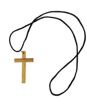 Cruz chica de madera en cordón de primera comunión