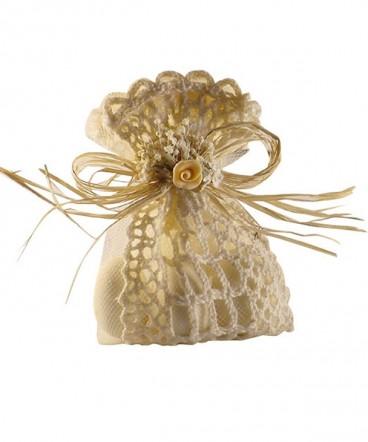 Saquito crochet beige recuerdo de matrimonio o aniversario