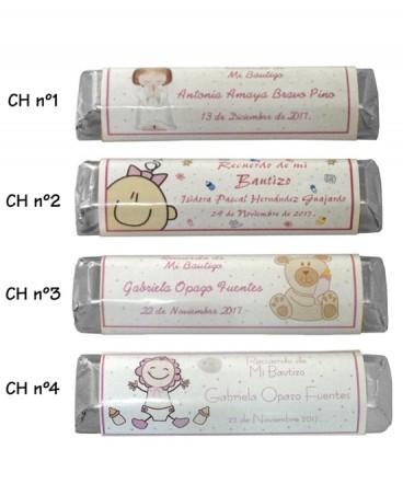 Chocolates etiquetas personalizadas de Bautizo