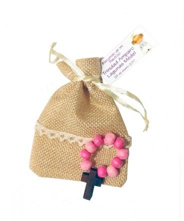 Denario madera rosa bolsa rústica recuerdo Bautizo
