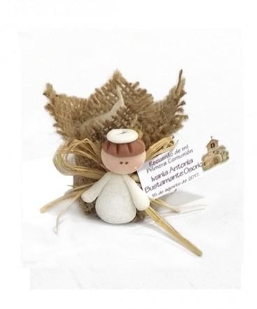 Vela arpillera ángel cerámica recuerdo de primera comunión