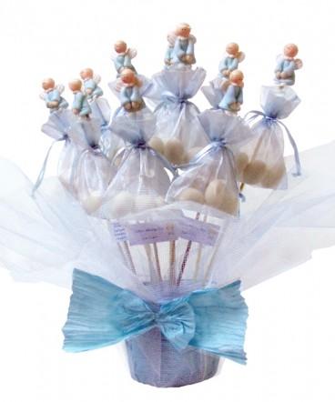 Base ángeles cerámica brochetas con huevos recuerdo de Bautizo