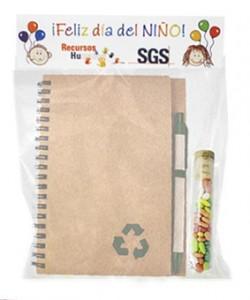 Libreta ecológica con lápiz regalo y caramelos día del niño