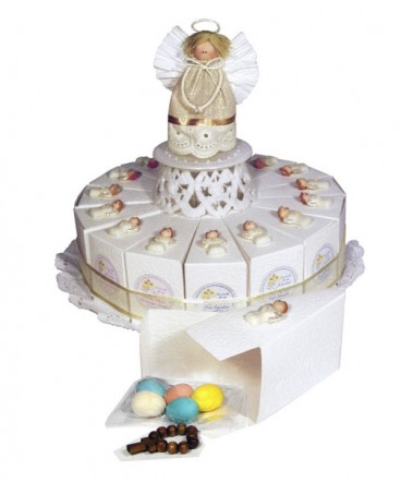 Torta ángel ceramica recuerdo de comunión