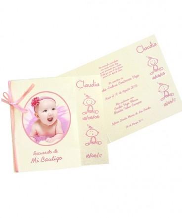 Santito tarjeta con foto de Bautizo