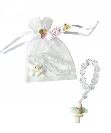 Denario perla transparente cruz cerámica recuerdo Comunión