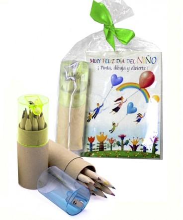 Libreta - lápices estuche tubo regalo dia del niño