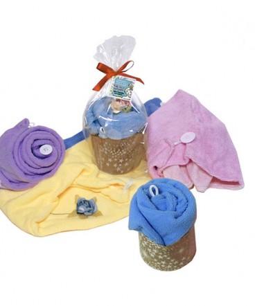 Toalla turbante en forma de pastel regalo día de la madre