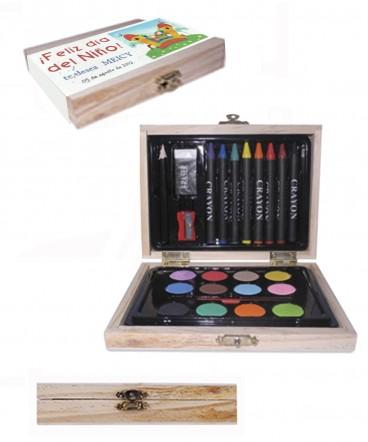 Set de dibujo en caja de madera regalo día del Niño