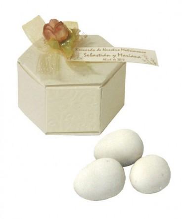 Caja Hexagonal huevos almendra recuerdo de matrimonio