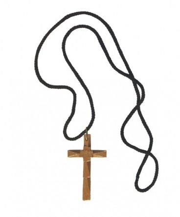 Cruz tallada de madera en cordón de primera comunión