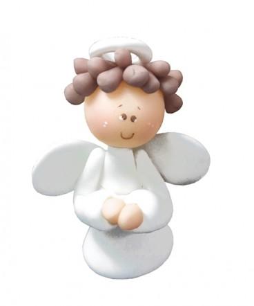 Cúpula de torta angel blanco cerámica de bautizo