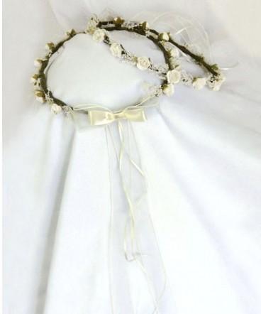 Corona country flor blanca de primera comunión