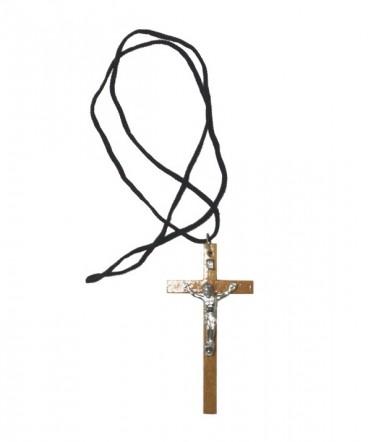 Cruz madera grande con Cristo en cordón de primera comunión