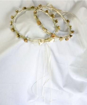 Corona flores y raso de primera comunión