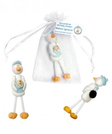 Cigüeña de cerámica imantada recuerdo de baby Shower