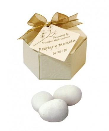 Caja Hexagonal recuerdo de matrimonio o aniversario
