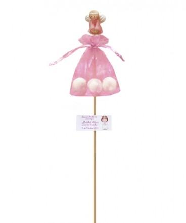 Angel cerámica rosados brochetas de Bautizo