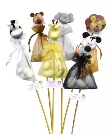 Set de animales de cerámica almendras recuerdo bautizo