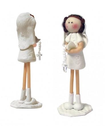 Cupula para torta niña de blanco cerámica primera comunión