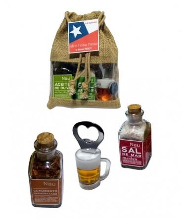 Set condimento y destapador en bolsa arpillera con ventana regalo fiestas patrias