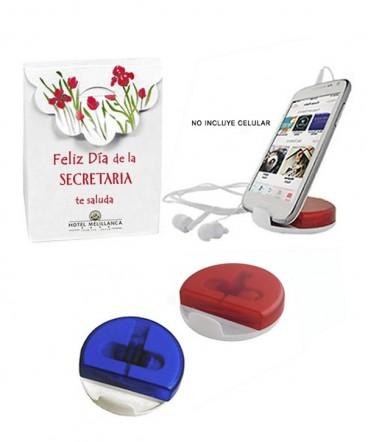Auriculares soporte para celular regalo día de la secretaria