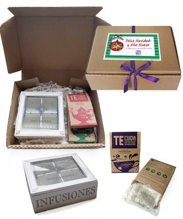 Set té con caja regalo de navidad