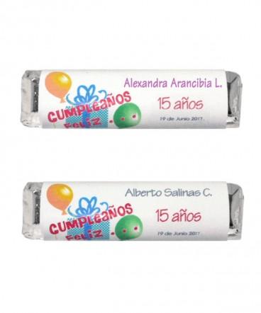 Chocolates personalizados recuerdo de Quince años