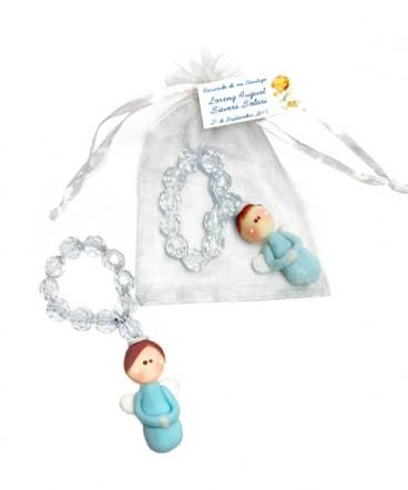 Denario perla transparente ángel cerámica recuerdo de Bautizo