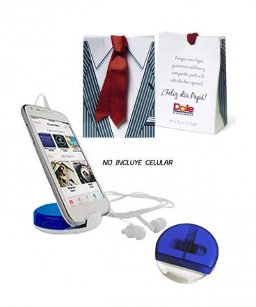 Auriculares porta celular regalo día del padre