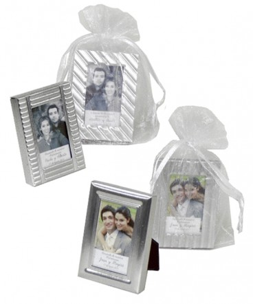 Mini marcos metálicos con foto recuerdo de Matrimonio
