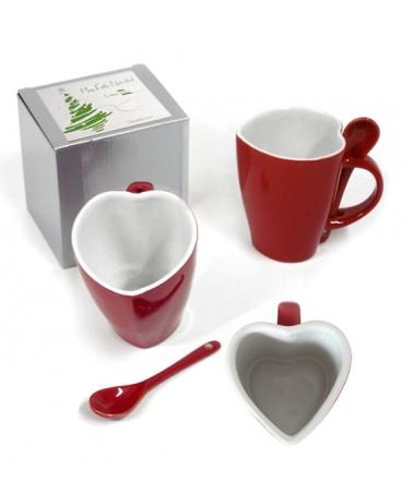 Taza corazón cuchara regalo de navidad