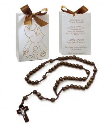 Bolso cinta con rosario recuerdo de Comunión