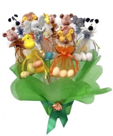 Animales cerámica huevos almendra recuerdo Cumpleaños