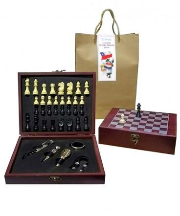 Set grande de vino con ajedrez regalo de fiestas patrias