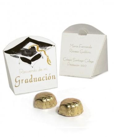 Cajita display con bombones recuerdo de graduación