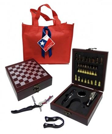 Caja set de vino ajedrez regalo fiestas patrias