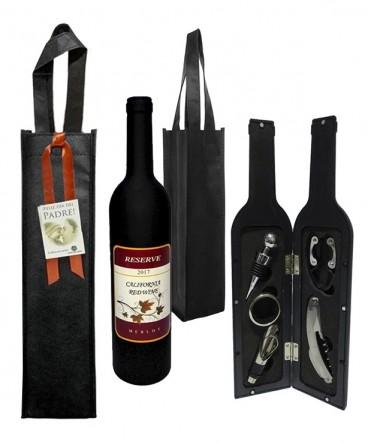 Set de vino estuche botella en bolsa TNT regalo día del padre