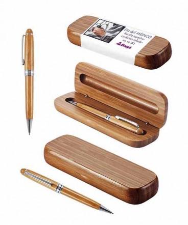 Set Bolígrafo Estuche de Bambú regalo día del médico