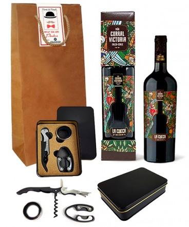 Vino con set de vino regalo dia del padre