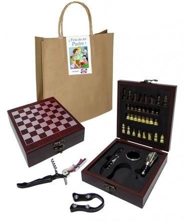 Set de vino ajedrez en caja regalo día del padre