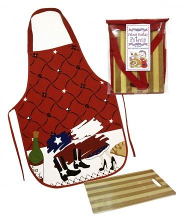 Tabla madera y Pechera en bolsa de PVC Fiestas Patrias
