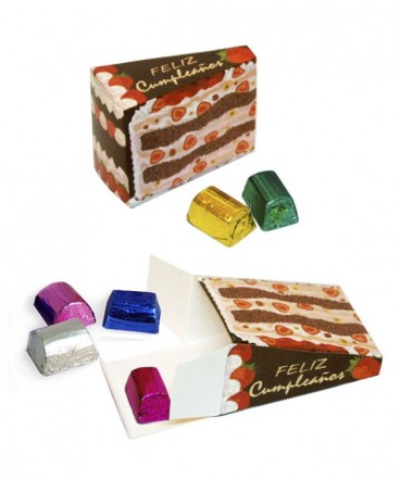 Caja torta con Bombones regalo de cumpleaños