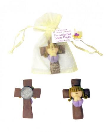 Cruz ángel cerámica recuerdo de Primera Comunión