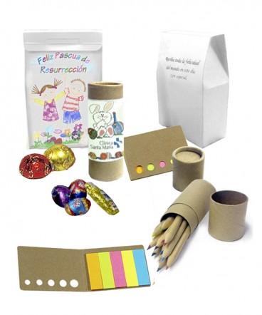Lapices ecologicos y adhesivos y huevos regalo de pascua resurrección