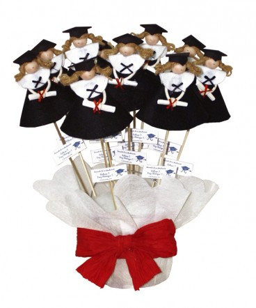 Base brochetas graduadas paño lenci negro recuerdo de graduación