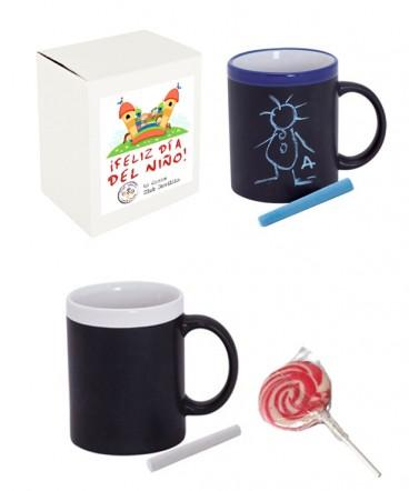 Set taza pizarra caramelo regalo dia del niño